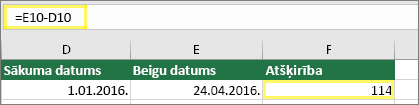 Šūna D10 ar 01.01.2016., šūna E10 ar 24.04.2016., šūna F10 ar formulu =E10-D10 un rezultātu114