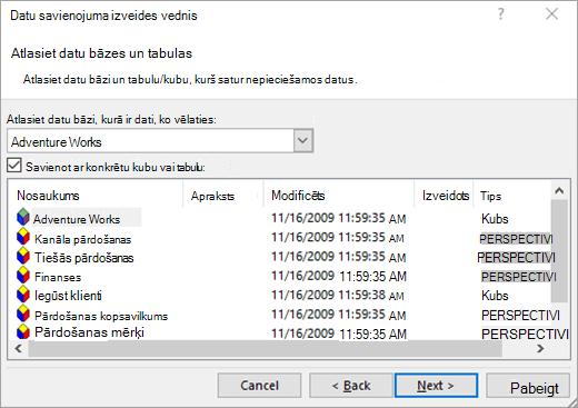 Datu savienojuma vedņa 2. ekrāns