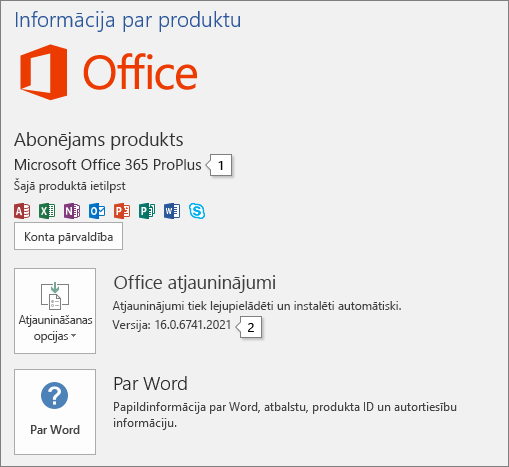 Ekrānuzņēmums, kurā redzama konta lapa, kurā tiek rādīts Office produkta nosaukums un pilns versijas numurs