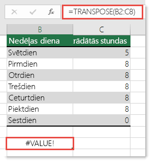 Kļūda #VALUE! funkcijā TRANSPOSE