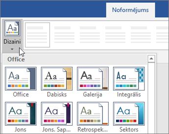 Dizainu opcijas Word lentē