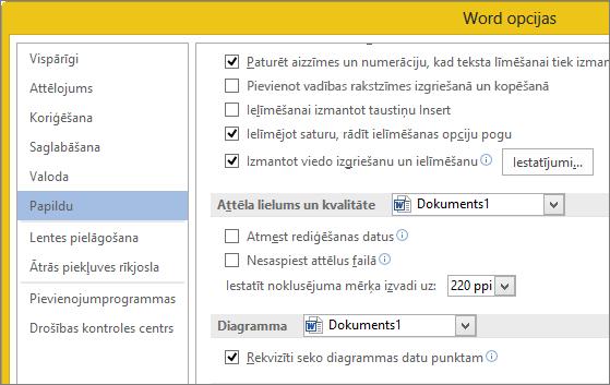 Attēla lieluma un kvalitātes opcijas programmā Word
