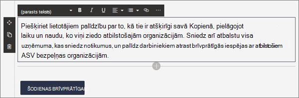 Teksta tīmekļa daļa formatēšanas opcijas, rediģējot mūsdienīgu lapu pakalpojumā SharePoint