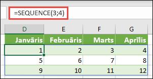 3 rindas izveide par 4 kolonnu masīva konstanti, izmantojot = SEQUENCE (3, 4)