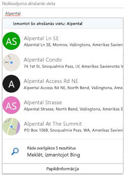 Ieteikto atrašanās vietas, tiek piedāvāti ar Bing