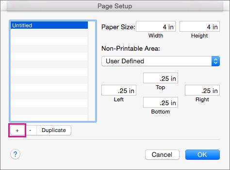 Lappuses iestatīšanas dialoglodziņā atlasiet Pārvaldīt pielāgotus izmērus, lai izveidotu pielāgotus papīra izmērus.