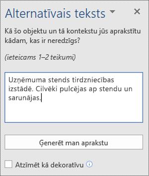 Alternatīvā teksta dialoglodziņš programmā Word darbam ar Windows
