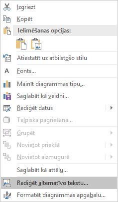 PowerPoint Win32 Alt teksta rediģēšanas izvēlne diagrammām