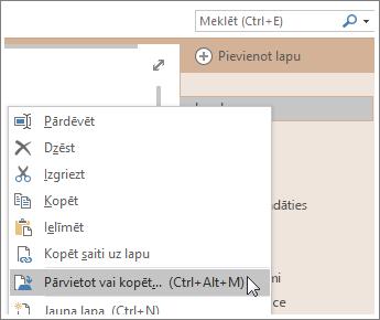 Ekrānuzņēmums, kurā parādīts, kā pārvietot vai kopēt lapu programmā OneNote2016.
