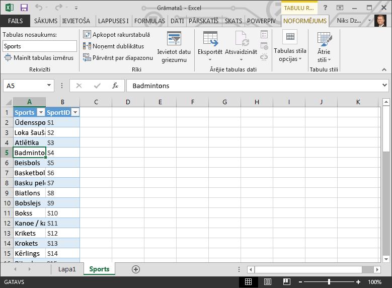 Nosaukuma piešķiršana tabulai programmā Excel
