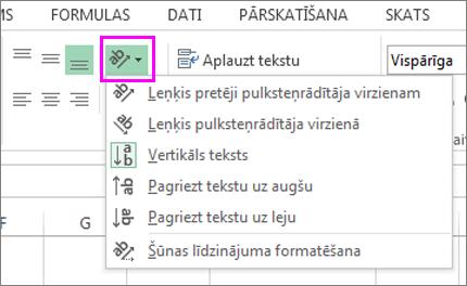 Fonta orientācijas opcijas cilnē Sākums