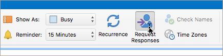 Ekrānuzņēmums ar pogu Pieprasīt atbildes programmā Outlook2016 darbam ar Mac