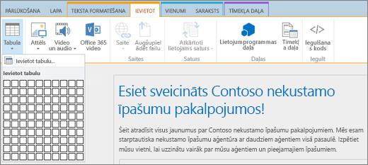 Ekrānuzņēmums ar SharePoint Online lenti. Atlasiet cilni Ievietošana un pēc tam atlasiet Ievietot tabulu, lai norādītu jaunas tabulas rindu un kolonnu skaitu.