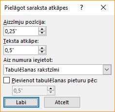 Ekrānuzņēmums, kurā pielāgot saraksta atkāpes dialoglodziņu vietā, kur varat norādīt iestatījumus aizzīmju pozīcija un teksta atkāpi. Varat arī atlasīt to, ko vēlaties sekot skaitli ar un norādīt, kur jāpievieno tabulēšanas pieturu.