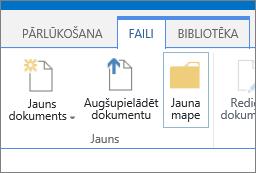 Ar iezīmētu pogu Jauna mape lentes cilnes faili