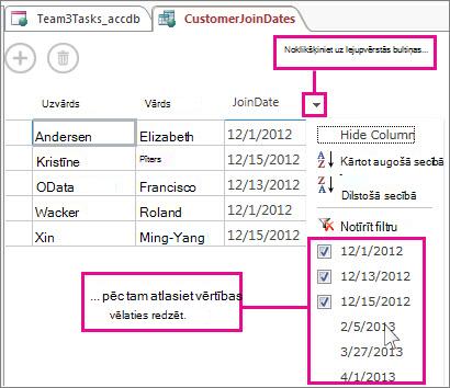 Vaicājuma kolonnas filtrēšana Access lietojumprogrammā.