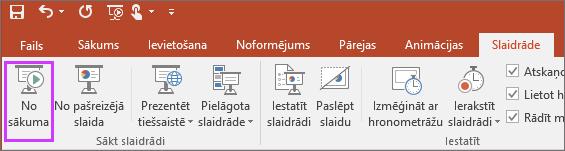 Tiek parādīta poga No sākuma slaidrādes cilnē programmā PowerPoint