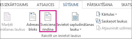 Ekrānuzņēmums ar tādu cilni Sūtījumi programmā Word, kurā izcelta komanda Sveiciena rindiņa.