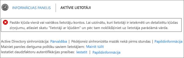 Direktorija sinhronizēšana kļūdas deklarācija aktīvo lietotāju lapas augšdaļā