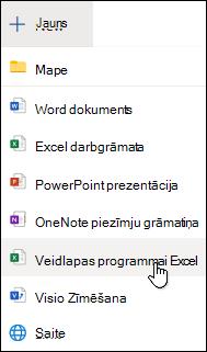 Opcija Ievietot veidlapu programmā Excel programmā Excel Online