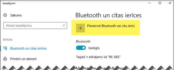 Bluetooth ierīces pievienošana