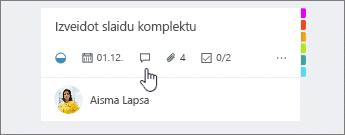 Komentāra ikona uzdevumu kartes