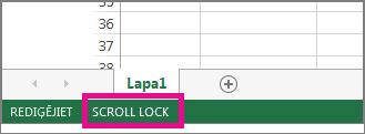 Ekrāna kreisajā apakšējā stūrī tiek parādīts Scroll Lock