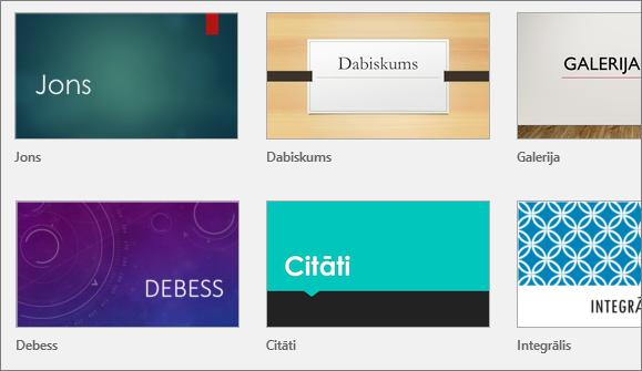 Parāda dizainus programmā PowerPoint, noklikšķinot uz Fails > Jauns