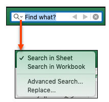 Kad ir aktivizēta meklēšanas josla, noklikšķiniet uz palielināmā stikla, lai aktivizētu dialogu papildu meklēšanas opcijas