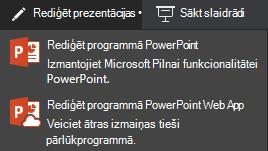 Rediģēšana programmā PowerPoint Online