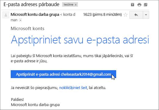 Apstipriniet savu e-pasta adresi