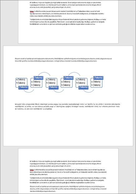 Ainavas lapa citādi portreta dokumentā ļauj pielāgot plašus elementus, piemēram, tabulas un shēmas lapā
