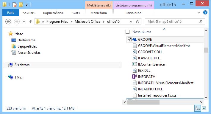 Groove.exe meklēšana sistēmā Windows