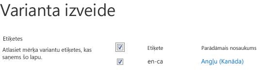 Ekrānuzņēmums ar izvēles rūtiņām, kas rāda variantu vietnes, kurām jāsaņem satura atjauninājumi. Ietvertas variantu etiķetes un to atbilstošie displeja nosaukumi