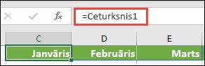 """Formulā izmantojiet nosaukumu masīva konstante, piemēram, = Ceturksnis1, kur Ceturksnis1 ir definēta kā = {""""janvāris"""", """"februāris"""", """"marts""""}"""