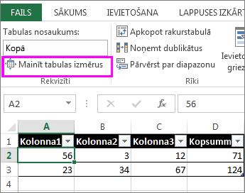 Opcijas Mainīt tabulas izmērus sadaļā Tabulas rīki