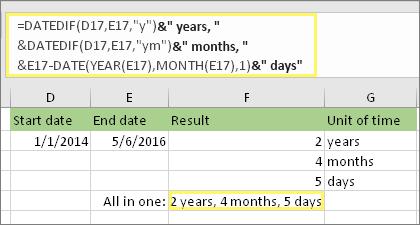 """=DATEDIF(D17,E17,""""y"""")&"""" gadi, """"&DATEDIF(D17,E17,""""ym"""")&"""" mēneši, """"&DATEDIF(D17,E17,""""md"""")&"""" dienas"""" un rezultāts: 2 gadi, 4 mēneši, 5 dienas"""