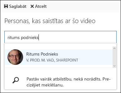 Office 365 Video saistīt personas