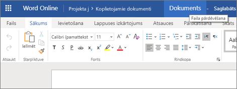 Noklikšķiniet uz virsrakstjoslas, lai mainītu Word Online dokumenta nosaukumu.