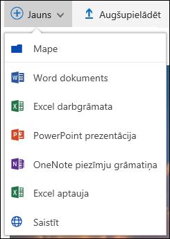 Office 365 izveidojiet jaunu mapi vai dokumentu