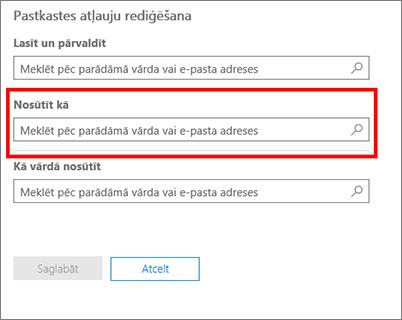 Ekrānuzņēmums: atļaujiet citam lietotājam sūtīt e-pasta ziņojumus šī lietotāja vārdā