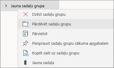 Sadaļu grupu pārdēvēšana programmā OneNote darbam ar Windows10