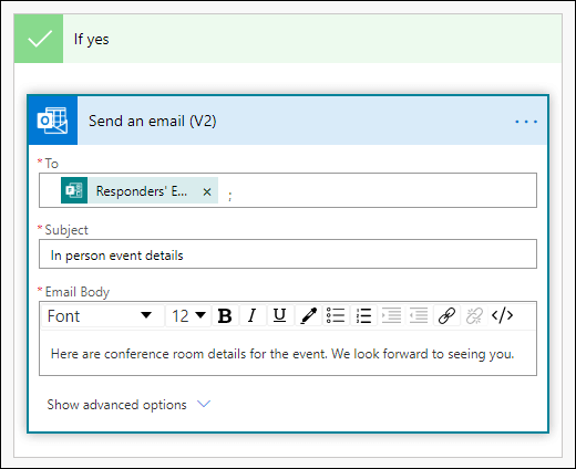 Pievienojiet personas, tēmas rindiņu un teksta pamattekstu savā e-pasta ziņojumā kā darbību līdzeklī Power automatizēšana