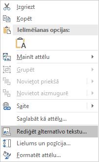 PowerPoint Win32 izvēlne Rediģēt alternatīvo tekstu attēliem