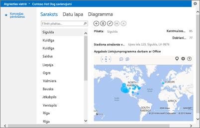 Programma Bing Maps sistēmai Office Access programmā