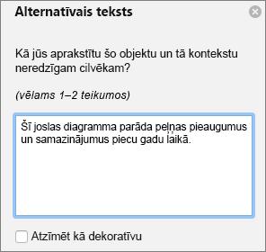 Dialoglodziņa Excel 365 rakstīt alternatīvais teksts rakursdiagrammām