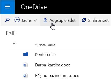 Augšupielādes poga programmā OneDrive for Business pakalpojumā Office 365 ekrānuzņēmums