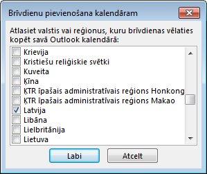 Valsts/reģiona svētku dienu atlases dialoglodziņš