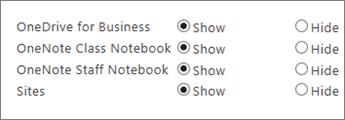 OneDrive darbam, OneNote mācību priekšmetu piezīmju grāmatiņu, OneNote personāla piezīmju grāmatiņu un vietnes sarakstu ar pogām, lai rādītu vai paslēptu.
