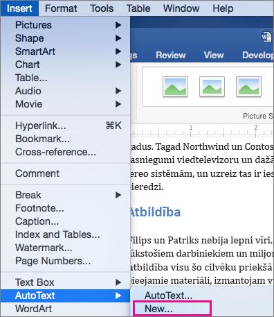 Izvēlne ar automātiskā teksta ievietošana > Jauns ir iezīmēta.